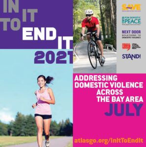 Man riding a bike, woman running, logos and event text.